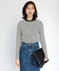 【AZUL by moussy(アズールバイマウジー)】ワッフルボーダー長袖プルオーバー