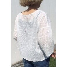 BORDER EMBROIDERY LACE 2WAYブラウス◆