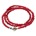 Antique Beads Necklace&Bracelet (White Heart(Red))